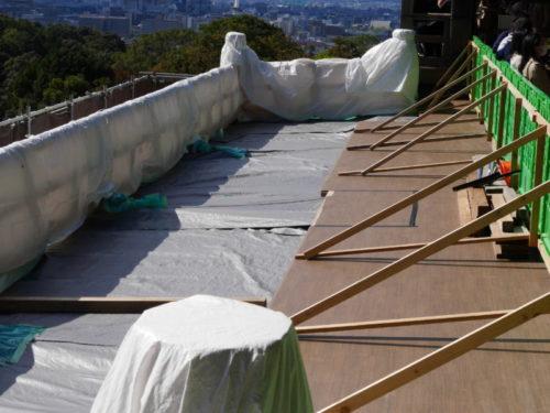清水の舞台の工事の様子 2020年10月24日