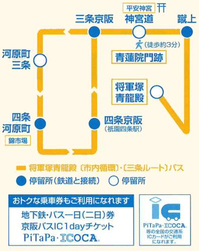 三条京阪駅から将軍塚までのバスルート