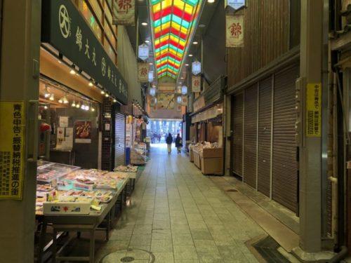 シャッター通りのような錦市場