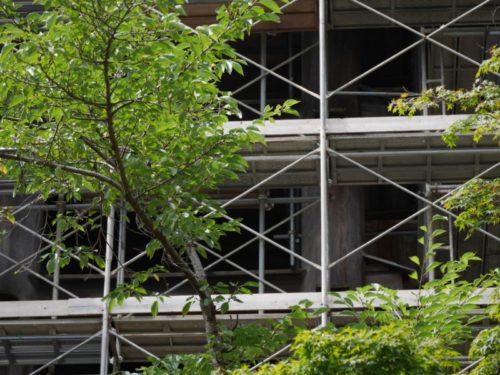 清水の舞台を支える柱が工事の足場で隠れている。