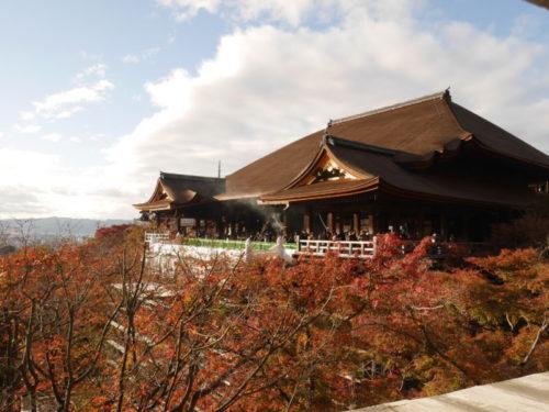 清水寺本堂と満開の紅葉
